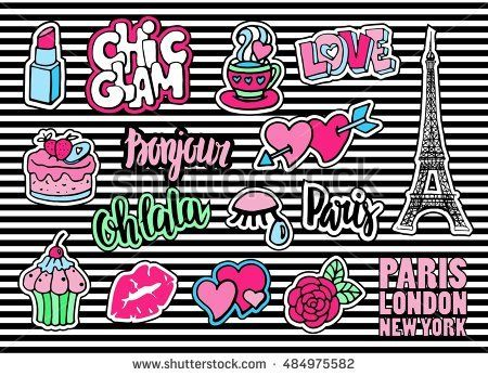 Cute fashion patch badges with lips, hearts, Eiffel tower,flower, cake, eye, lipstick. Paris romantic design.  Set of doodle stickers, pins,  in cartoon 80s-90s comic style. Sign hello in french.