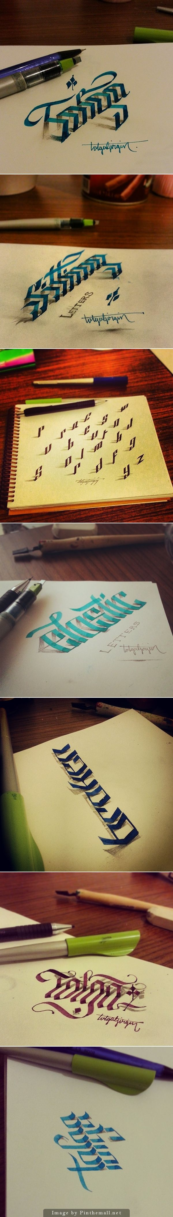 BY HAND / FORM / 3D type by Tolga --- Howwwwww?? I wish I'd known how to do this while u was in graphic arts class