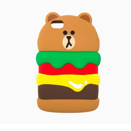 Line Friends Bear Burger Brown iPhone 6/6S Plus Silicone Apple Case Skin Cover #LineFriends