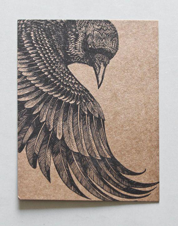 Original arte postal mano detallado dibujo de un cuervo por Shovava