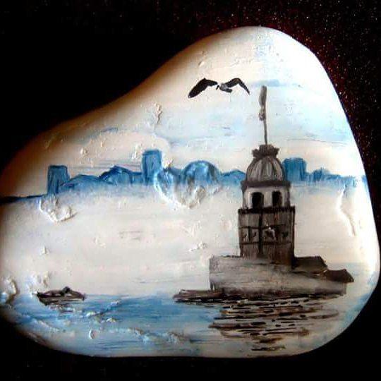 #rockart #handmadeart #arts #art #acyrlics #istanbul #kizkulesi #stoneart  #handmade #paintedrocks #painteditmyself #paintedrock #paintedstones #paintedstone #artbydemet #myrockpaintings