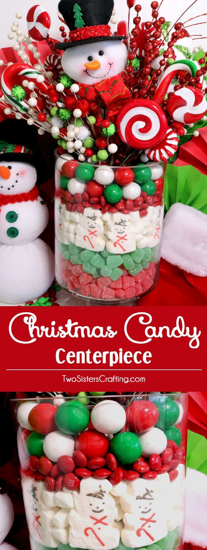 Christmas Candy Centerpiece - this will be everyone's favorite Christmas decoration. So fun and so easy to make. All you need are Christmas Candy, a vase and some Christmas decorations or flowers to make this cute DIY Christmas Craft. Pin this Christmas Centerpiece and follow us for more fun Christmas Decoration ideas. #ChristmasCenterpiece #ChristmasDecoration #ChristmasCrafts