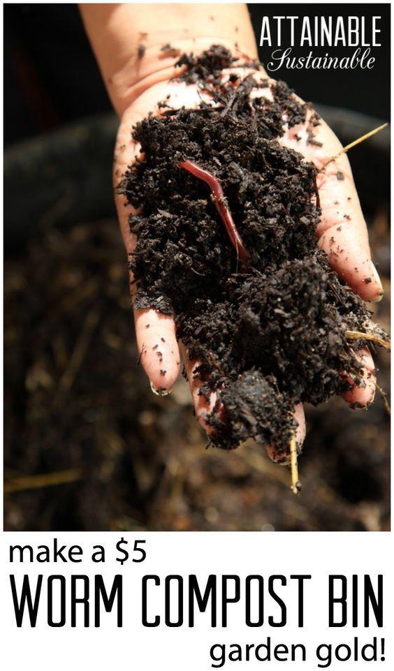 Vermicompost for great garden soil. Worm compost bin.