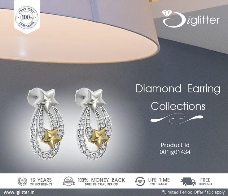 Diamond Earring Collections ♥♥♥   Shop Now : http://bit.ly/1V15Uup  ♥   #iGlitterindia #Diamonds #Earrings #Jewellery