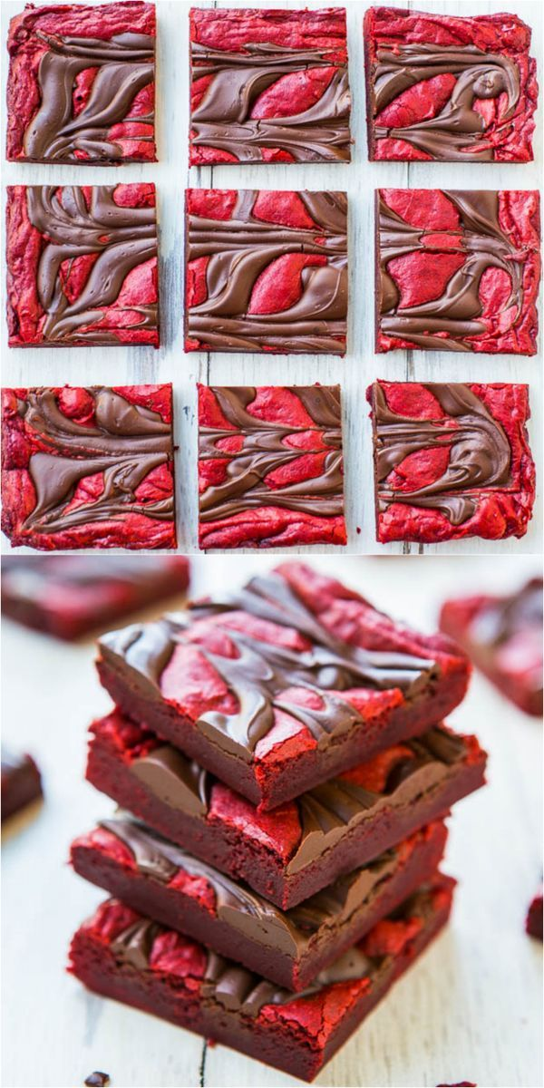 Red Velvet Chocolate-Swirled Brownie Bars {from scratch, not cake mix} - These easy bars topped with an abundance of chocolate are velvety soft and smooth like velvet!