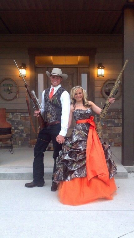 Hunters Orange Camo Couples Outfit For Prom Homecoming