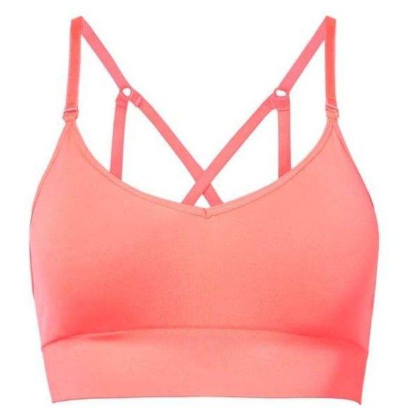 Medium Impact Bra (30 CAD) ❤ liked on Polyvore featuring activewear, sports bras, v neck sports bra, adjustable sports bra, strappy sports bra, sports bra and red sports bra