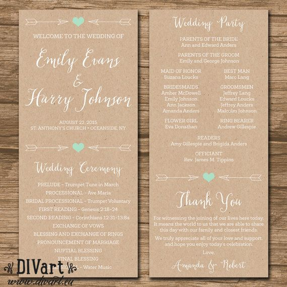 Rustic Wedding Program, Ceremony Program - PRINTABLE files - rustic wedding, garden wedding, arrows, heart, kraft paper and mint - Emily