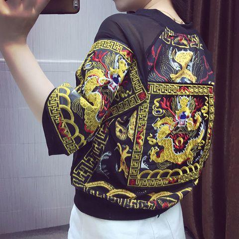 Купить товарВинтаж дракон Вышивка куртка бомбардировщика 2016 вскользь основные бейсбол куртки Тонкая Верхняя Одежда Кардиган в категории Стандартные курткина AliExpress.   размерВЕЛИКОБРИТАНИЯСШАЕСплечобюструка%D