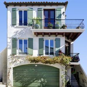 los angeles craftsman style shutters with mediterranean deck railings exterior and balcony