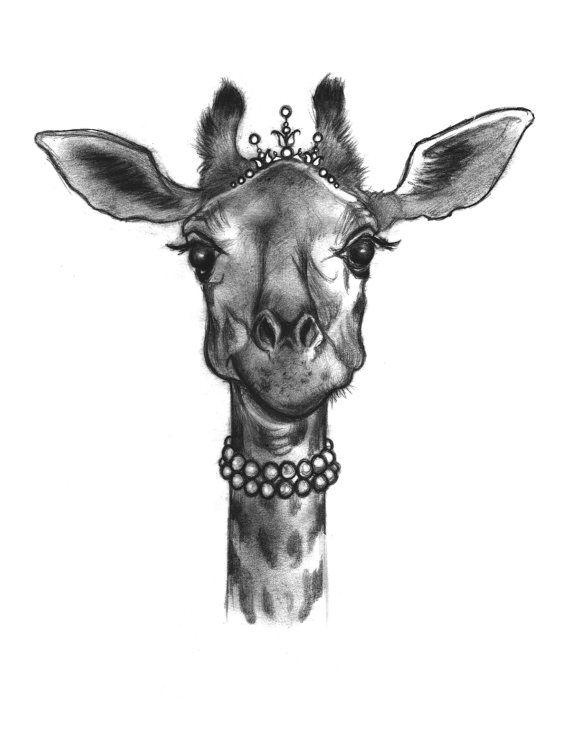 giraffe wearing tiara and pearls original art print 8.5x11 on Etsy, $11.00