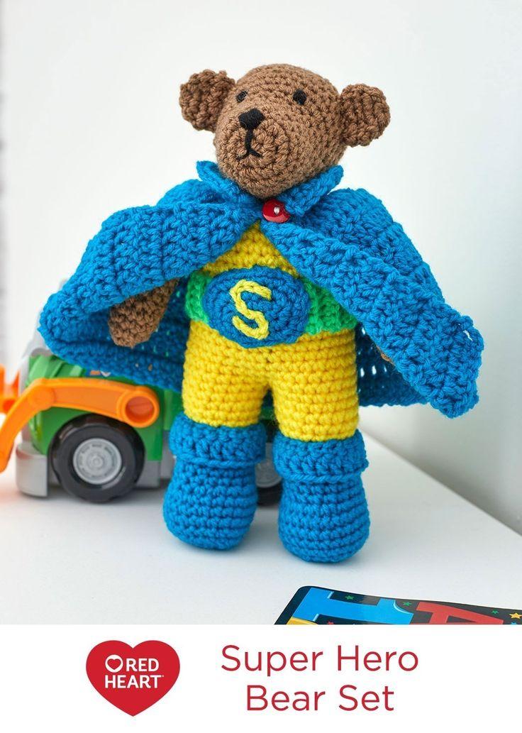 Red Heart Yarn Amigurumi Patterns : Super Hero Bear Set Free Crochet Pattern in Red Heart ...