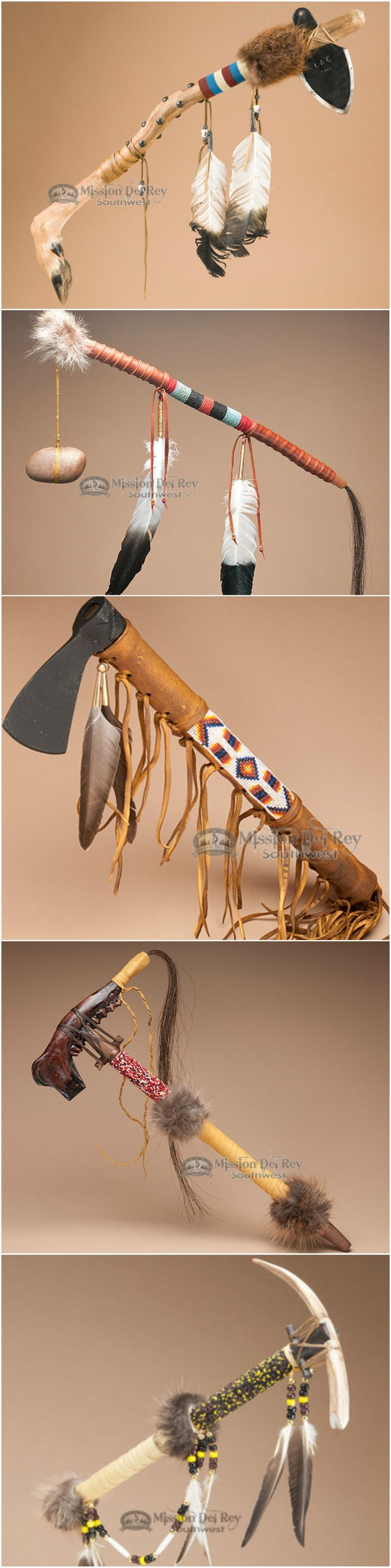 The American Indian tomahawk served many uses. Originally made of a shaped piece of stone attached to a wooden handle, the tomahawk was a prized possession. Today, the tradition of the Indian tomahawk is still carried on for peaceful purposes and play a central part in many ceremonies. See more Native American tomahawks at http://www.missiondelrey.com/native-american-tomahawks-war-clubs/