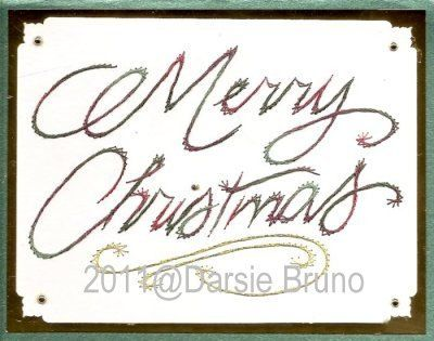 Merry Christmas Script Paper Embroidery Pattern for Greeting Cards