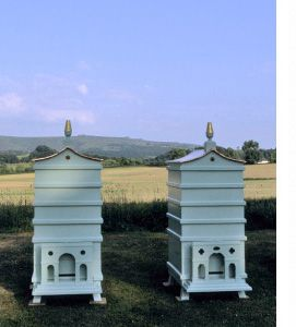 Two of the four bespoke bee hives for Fortnum & Mason prior to installation on the roof of their Piccadilly store. | The London Honey Company