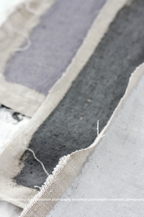 lilac and gray on linen