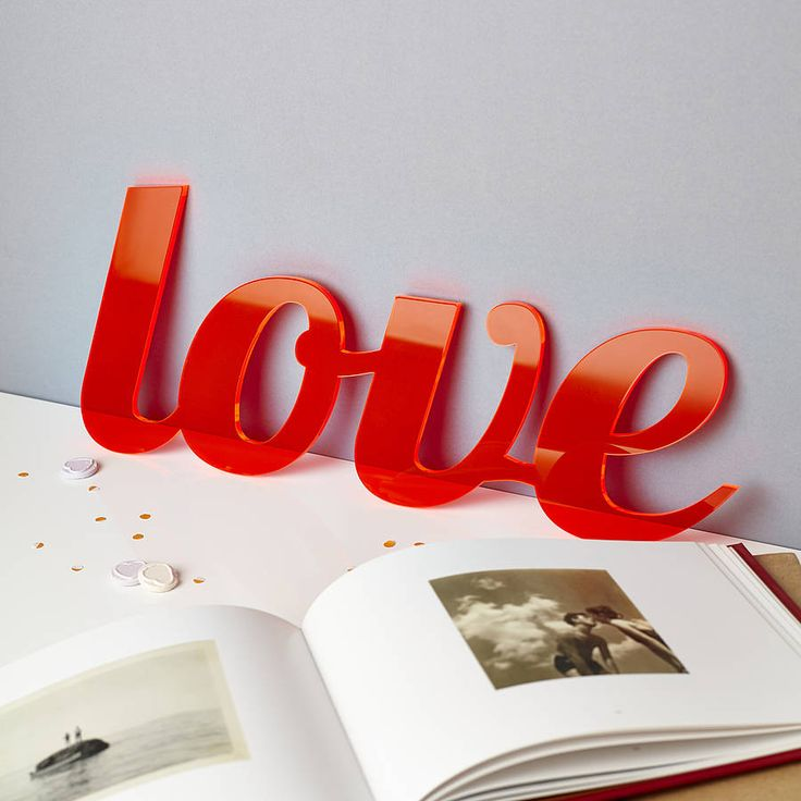Bespoke Acrylic Valentines Words. A bespoke Perspex love statement sign, choose from 'love', 'smitten' or 'crush' or come up with you own word.