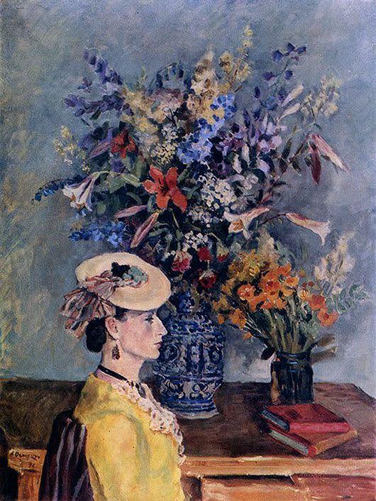 Александр Осмёркин «Профиль и цветы. (В мастерской художника)»
