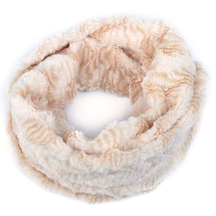 AOLOSHOW Winter Crochet Knit Fringe Infinity Loop Scarf Faux Beige Scarves