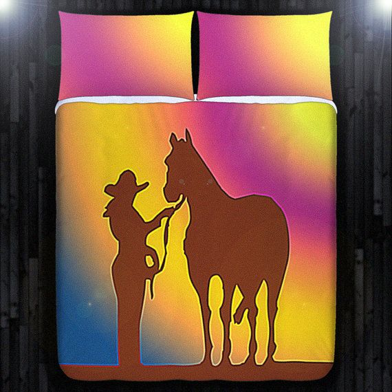 Sunset Cowgirl Horse Western Duvet Cover Bedding Queen