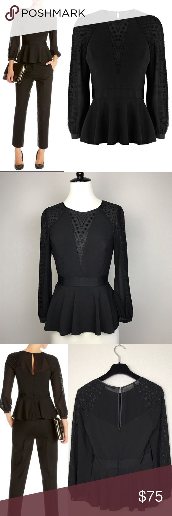 Karen Millen Black Long Sleeves Peplum Top In good condition, there is a small stain at the lower front (see last picture). US size 2. 100% polyester. Karen Millen Tops