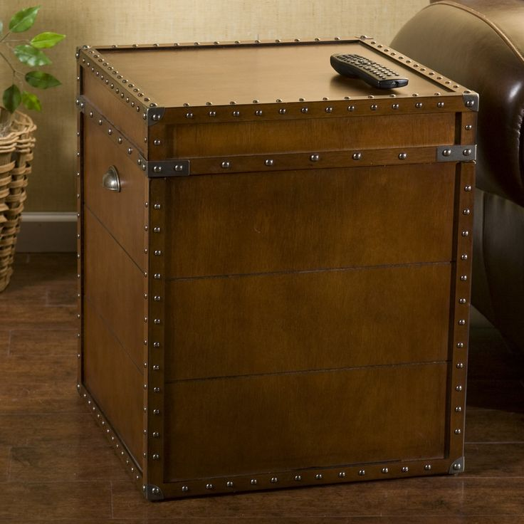 Gray Trunk End Table