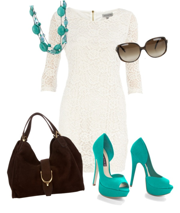 You have a white lace dress and turquoise heel and a turquoise necklace.  I know cuz I bought them all for you