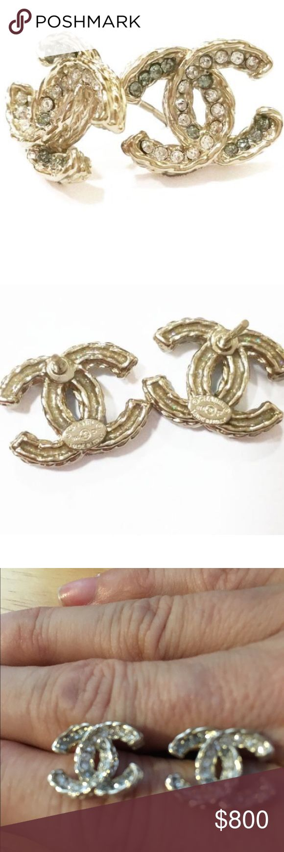 Authentic Chanel Twisted CC Rhinestone Earrings Authentic Chanel Gold Twisted CC Rhinestone Pierced Earrings. *Marked 13 *Made In France *Chanel. Purchased from Lar Vintage. Still in business. 12/5/15. RARE OUT IF STOCKComes with Chanel Bag CHANEL Jewelry Earrings