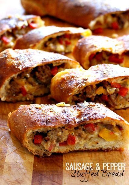 This stuffed bread is full of sausage, peppers and cheese. Easy to make with store bought dough!