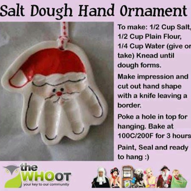 no hand prints, just making cute ornaments. perhaps use cookie cutters