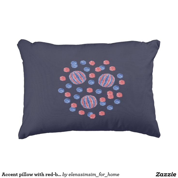 Accent pillow with red-blue balls