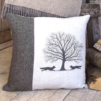 {Living Room} // Woodland Fox Tweed And Linen Cushion