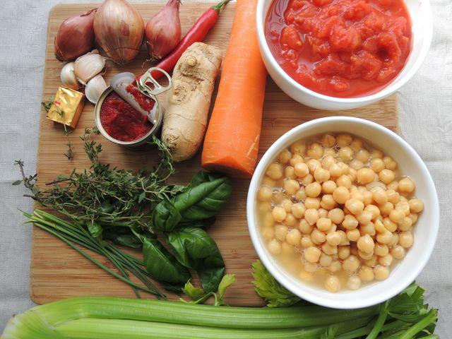 kikkererwten en tomaat vers, geen kokosolie, maar olijfolie gebruiken mmmo