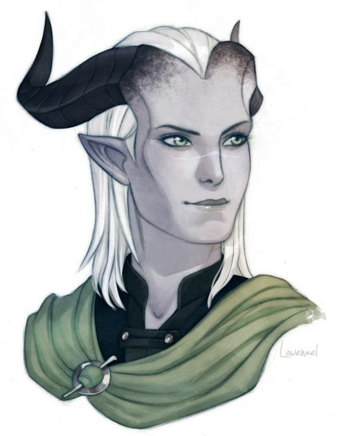 "samael76: "" I am a ball of pure joy right now. I commissioned art of my Dragon Age Inquisitor, Ashokra Adaar, from @needapotion and she absolutely nailed it! I cannot recommend her enough! I certainly hope to commission her again in the future...."