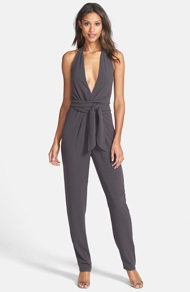 """This is an adorable """"night out"""" alternative for a tall woman.  Halston Heritage Halter Jumpsuit available at #Nordstrom"""