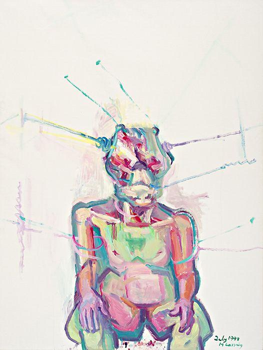 "Maria Lassnig, ""Sciencia"", 1998. Oil on canvas."