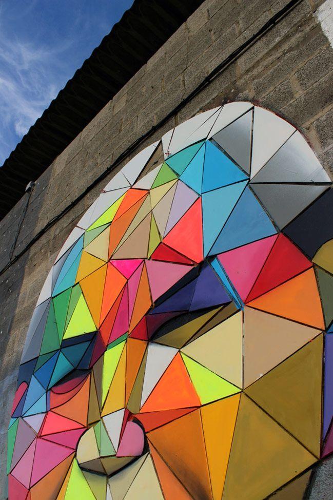 Colorful, geometric street art from Spanish artist Okuda San Miguel
