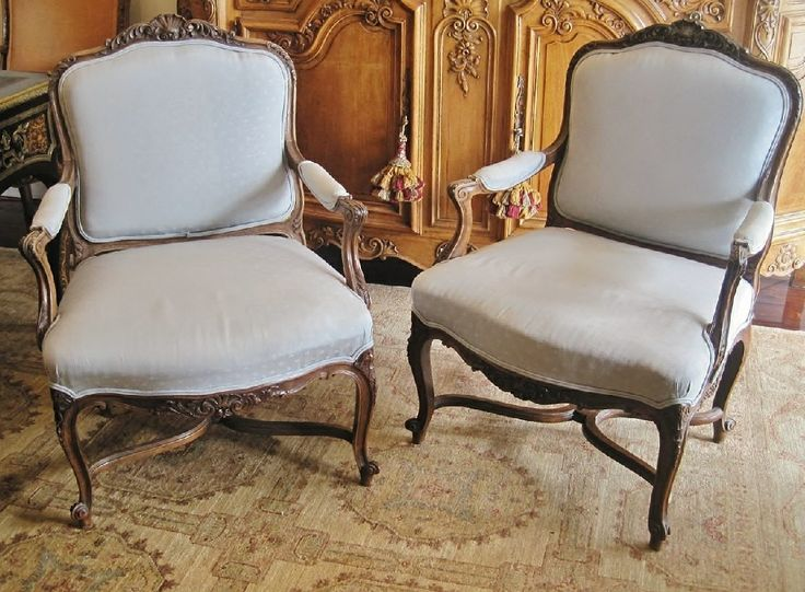 Pair Of French Louis XV Walnut Armchairs form 19th Century.