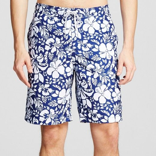 """• Adjustable waistband and a built-in brief for comfort<br>• Side pockets<br>• Fly hook and loop fastener<br>• Model wears size 32/Medium and is 6'1""""<br><br>Keep it casual with the Men's Floral Print Swim Trunks - Merona™. The men's swim trunks feature an adjustable waistband with a back elastic, mesh liner and built-in brief for ultimate movability and comfort, whether you're swimming laps or..."""