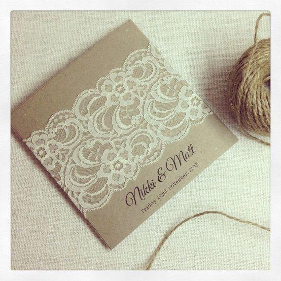 Rustic Wedding Invitation & response card by StunningStationery