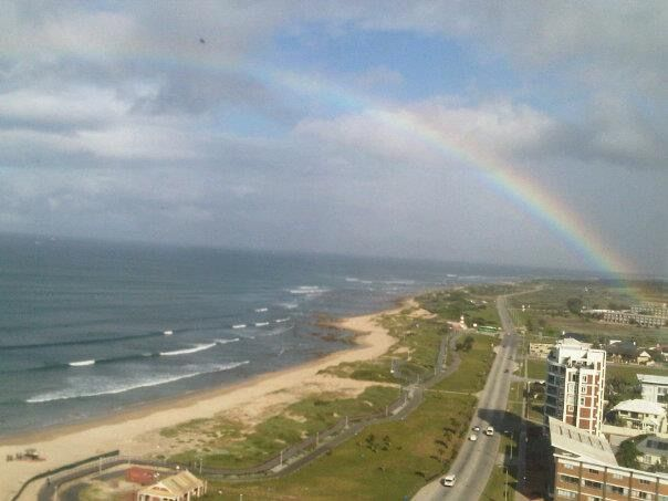 Rainbow over Summerstrand beachfront in Port Elizabeth, a beautiful sight...