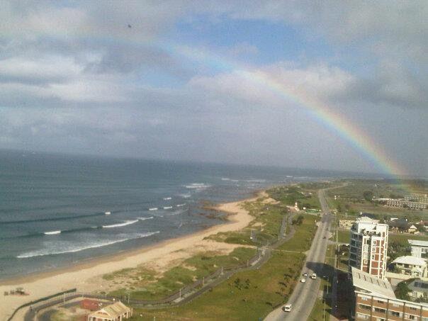 Rainbow over Summerstrand beachfront in Port Elizabeth, a beautiful sight...
