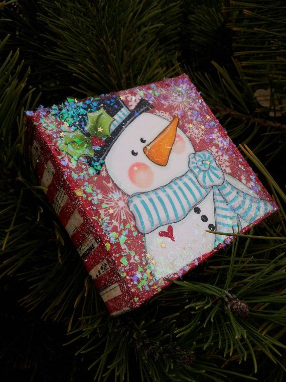 Christmas Snowman original mixed media canvas painting 4x4