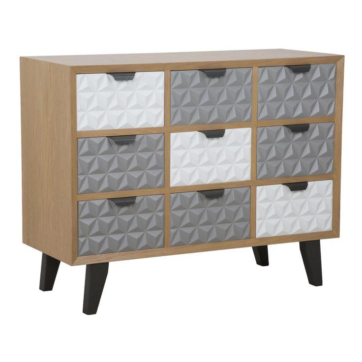 Cassettiera a 9 cassetti in legno di abete, legno di quercia,MDFe metallo.