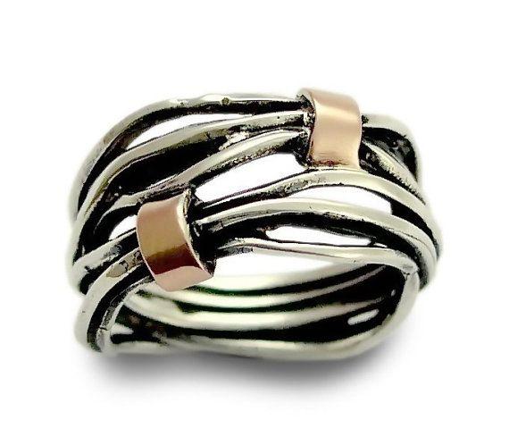 Or+et+argent+wrap+bague+bande+en+argent+Sterling+par+ArtisanFeel