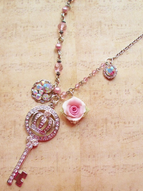 Crystal crown key with porcelain pink rose. BEAUTIFUL!