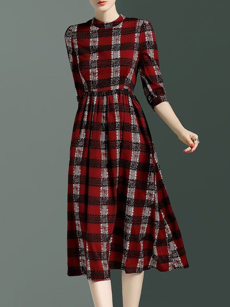 Red Vintage Polyester Midi Dress