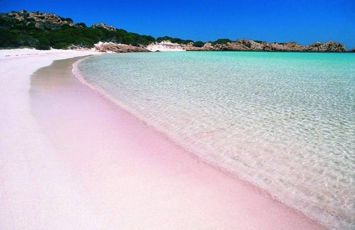 #Pink beach on Banamah #beach #mountains #sky #sea #Scenery