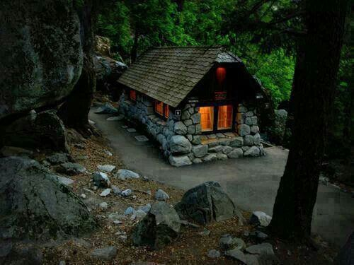Small stone cottage guest cottage pinterest cabin for Small stone cabin