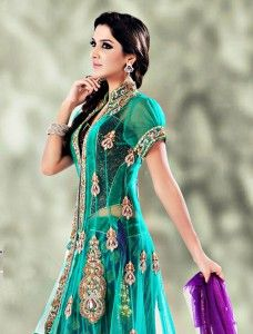 Sari/ Saree - Teal Green Flare and Jacket Style Net Lehenga Choli With Dupatta